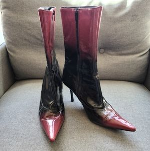 Patent leather high booties
